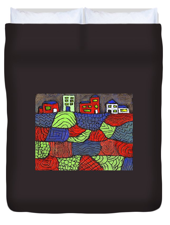 Whimsical Duvet Cover featuring the painting A Very Colorful Neighborhood by Wayne Potrafka