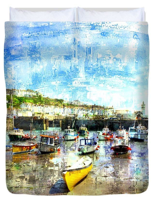 Porthleven Duvet Cover featuring the digital art Porthleven - A View Across The Harbour by Mike Marsden