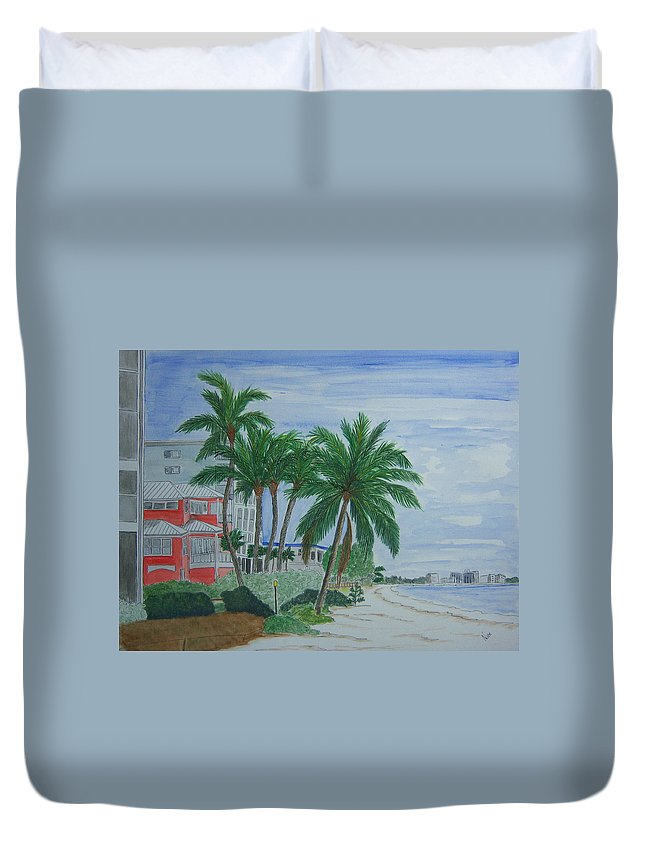 Beach Duvet Cover featuring the painting A View Down Ft. Myers Beach by Nancy Nuce