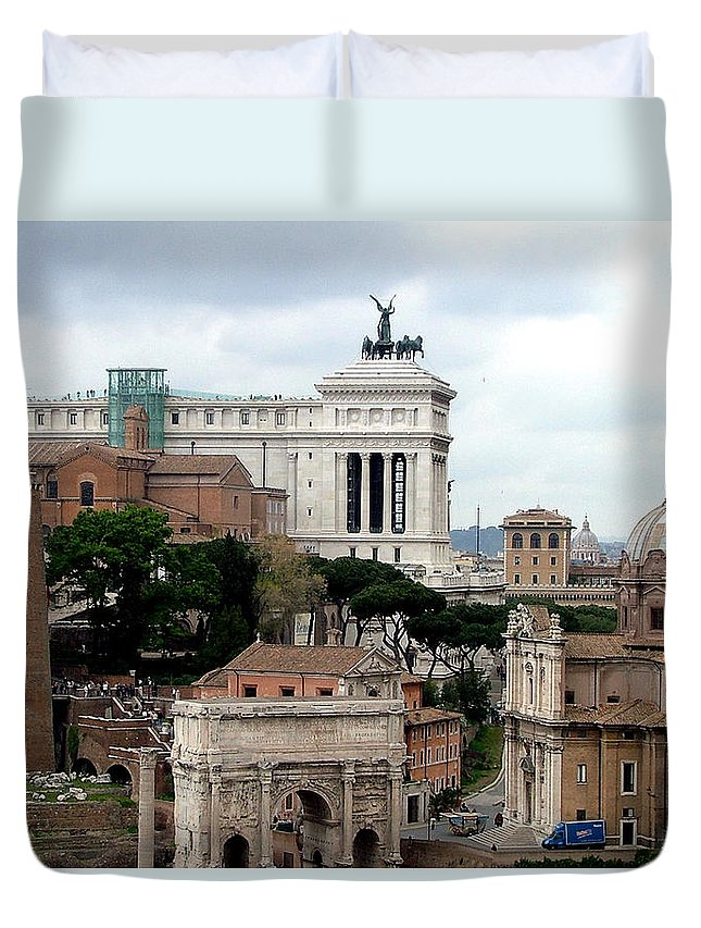 Palatine Hill Duvet Cover featuring the photograph A View From Palatine Hill In Rome Italy by Mindy Newman