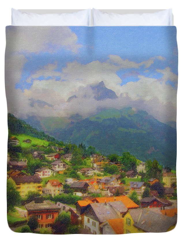 Engelberg Duvet Cover featuring the digital art A View Of Engelberg Switzerland by Paul Gioacchini