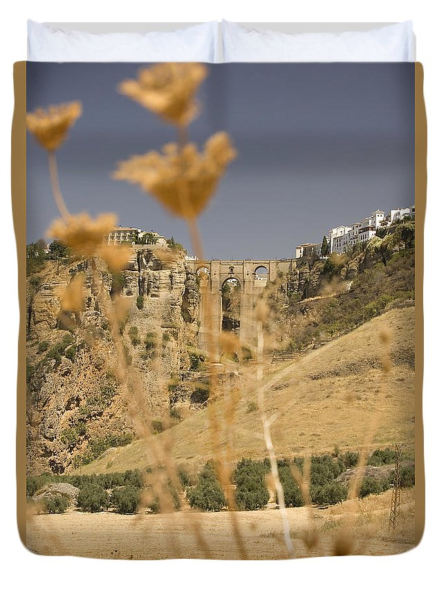 Tajo Duvet Cover featuring the photograph A View Of The Tajo De Ronda And Puente Nuevo Bridge Serrania De Ronda Andalucia Spain by Mal Bray