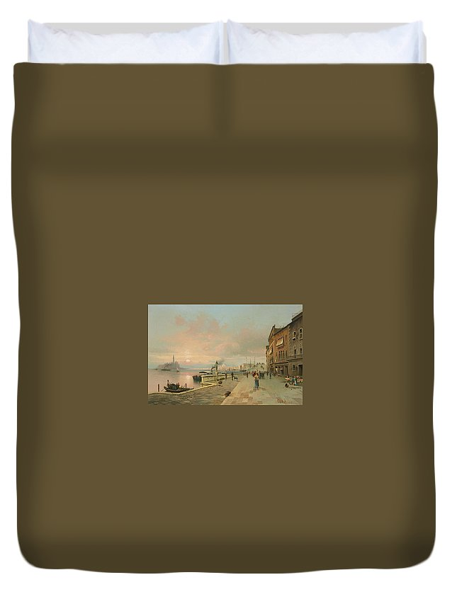 Karl Kaufmann Duvet Cover featuring the painting A View Of Venice by MotionAge Designs