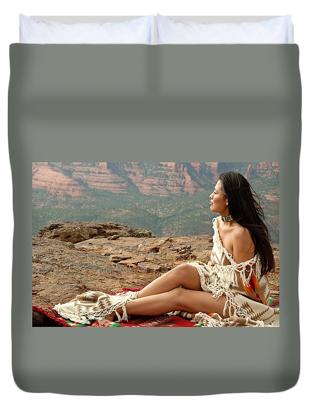 Native American Duvet Cover featuring the photograph A View by Scott Sawyer