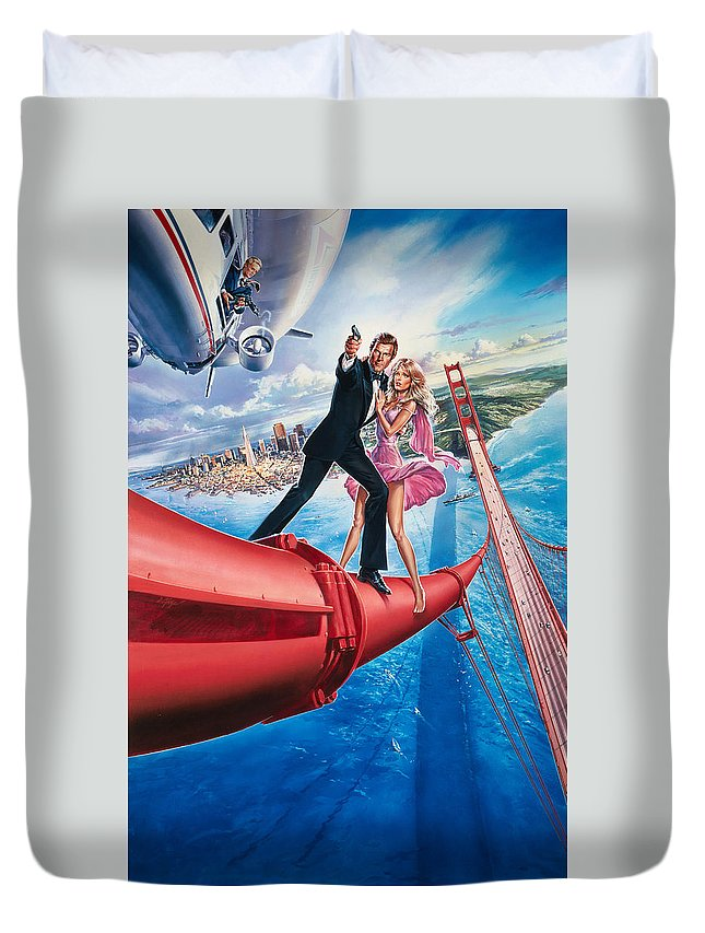 007 A View To A Kill 1985 Duvet Cover featuring the digital art A View To A Kill 1985 by Geek N Rock