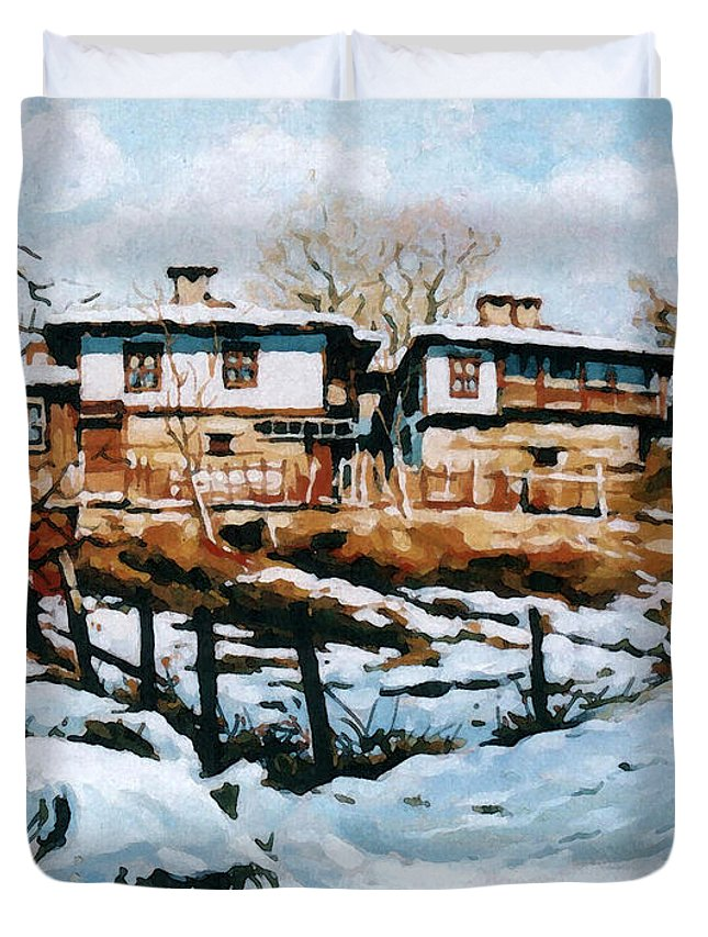 Landscape Duvet Cover featuring the painting A Village In Winter by Iliyan Bozhanov