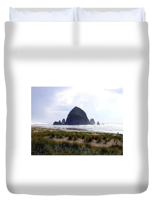 Cannon Beach Duvet Cover featuring the photograph A Walk In The Mist by Will Borden