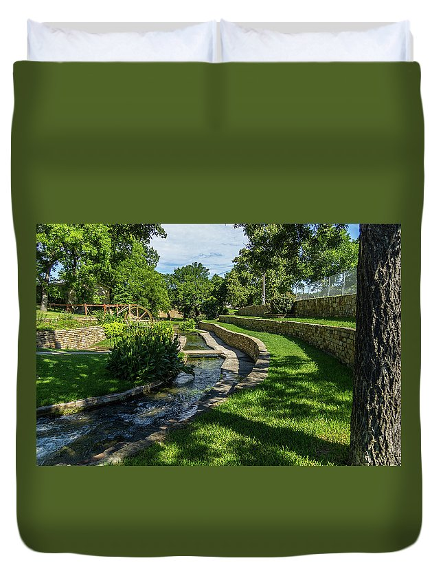 Park Duvet Cover featuring the photograph A Walk In The Park by Bob Marquis