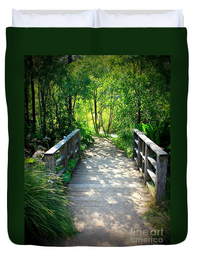Garden Path Duvet Cover featuring the photograph A Walk In The Park by Carol Groenen