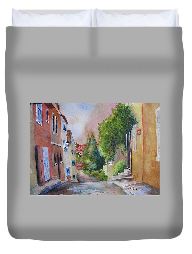 Cityscapes. Architecture Duvet Cover featuring the painting A Walk In The Village by Karen Stark