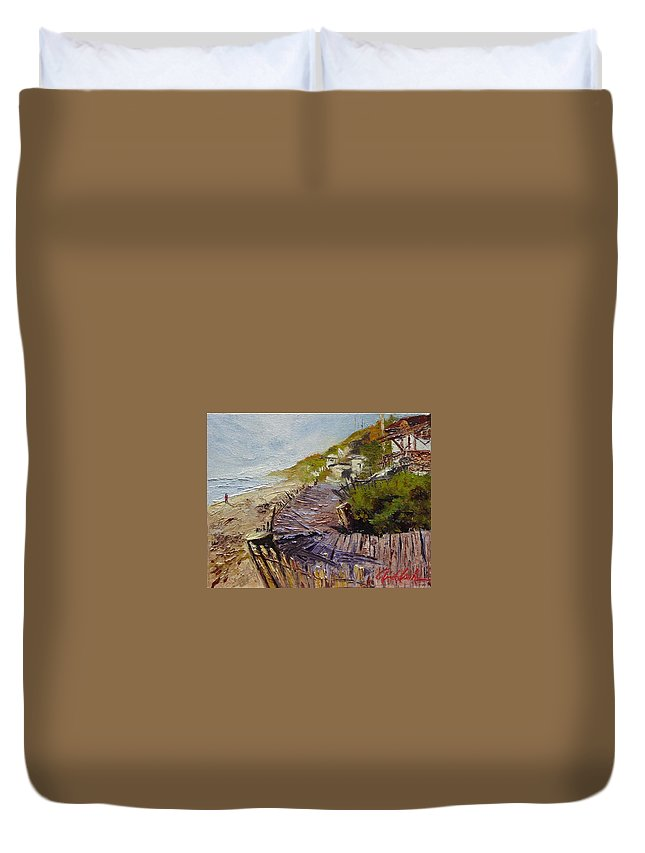 Beach Duvet Cover featuring the painting A Walk On The Beach by Barbara Andolsek