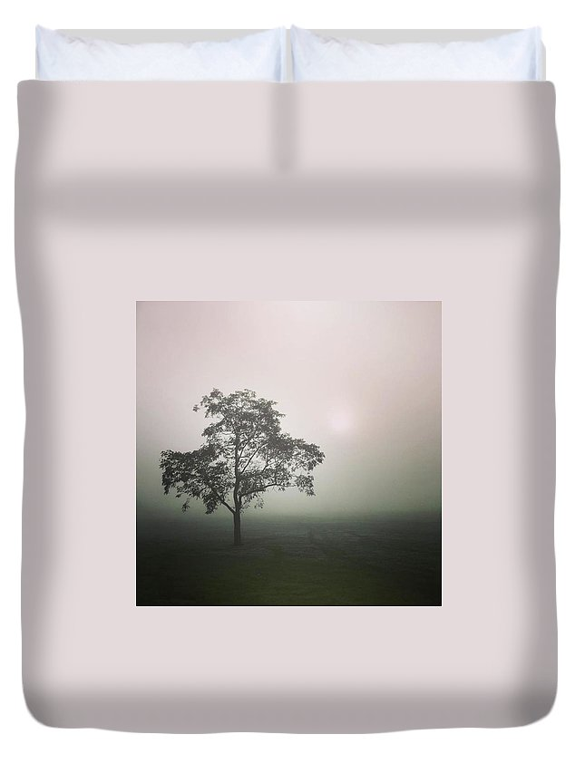 Fog Duvet Cover featuring the photograph A Walk Through The Clouds #fog #nuneaton by John Edwards