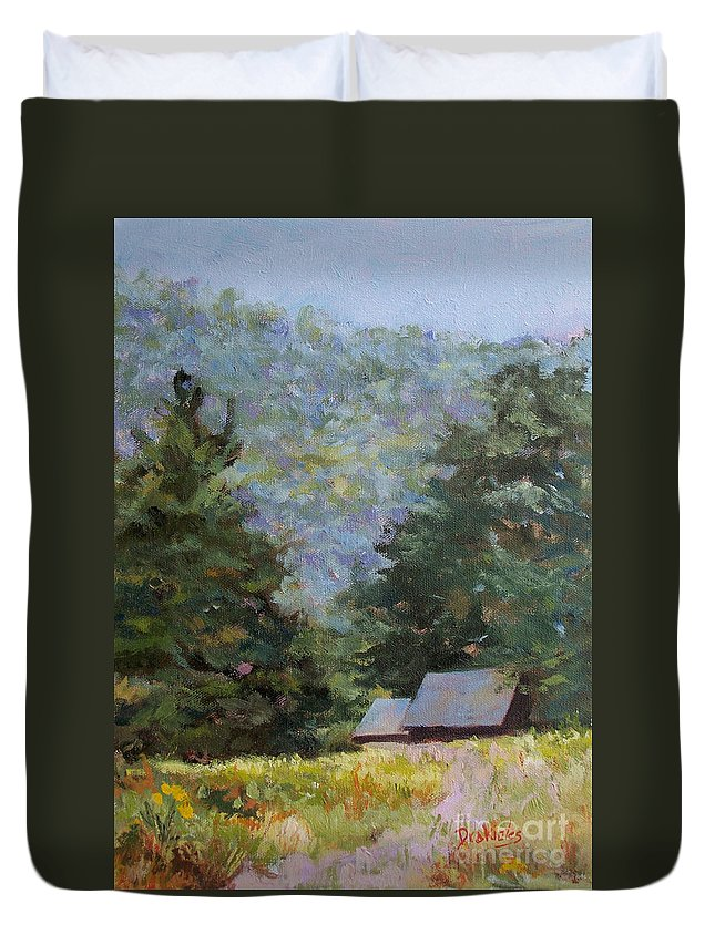 Conserved Duvet Cover featuring the painting A Walk to Great Meadow by Alicia Drakiotes