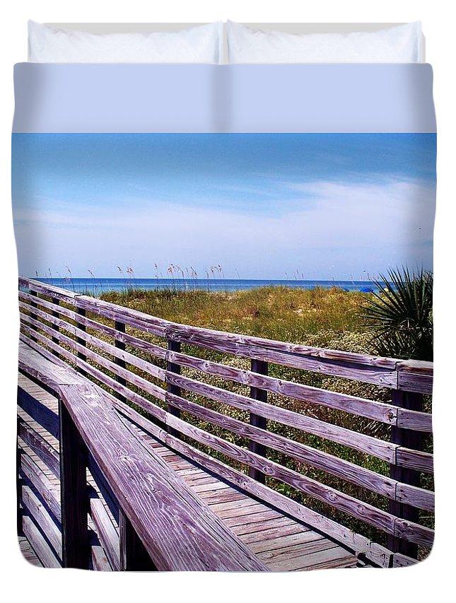 Beach Duvet Cover featuring the photograph A Walk To The Beach by Robin Monroe