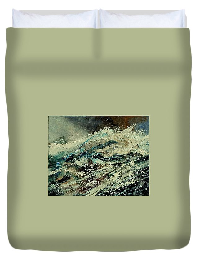 Sea Duvet Cover featuring the painting A Wave by Pol Ledent