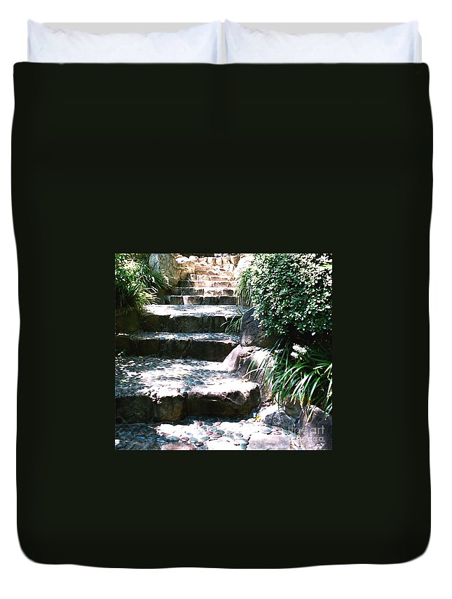 Stairs Duvet Cover featuring the photograph A Way Out by Dean Triolo
