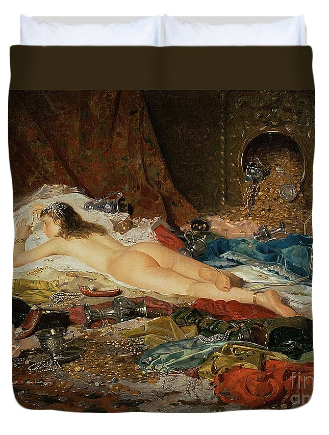 Wealth Duvet Cover featuring the painting A Wealth Of Treasure by Della Rocca
