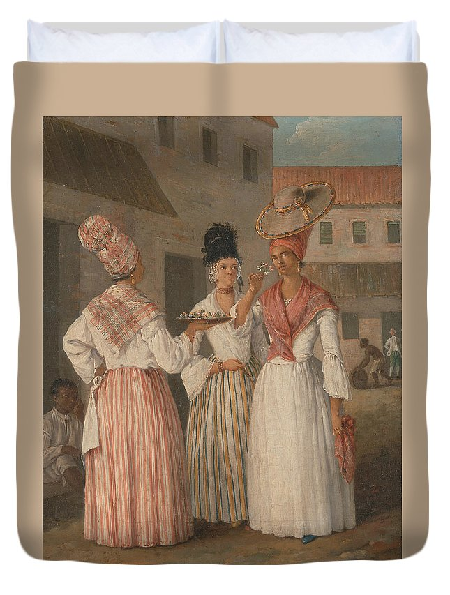Italian Painters Duvet Cover featuring the painting A West Indian Flower Girl And Two Other Free Women Of Color by Agostino Brunias