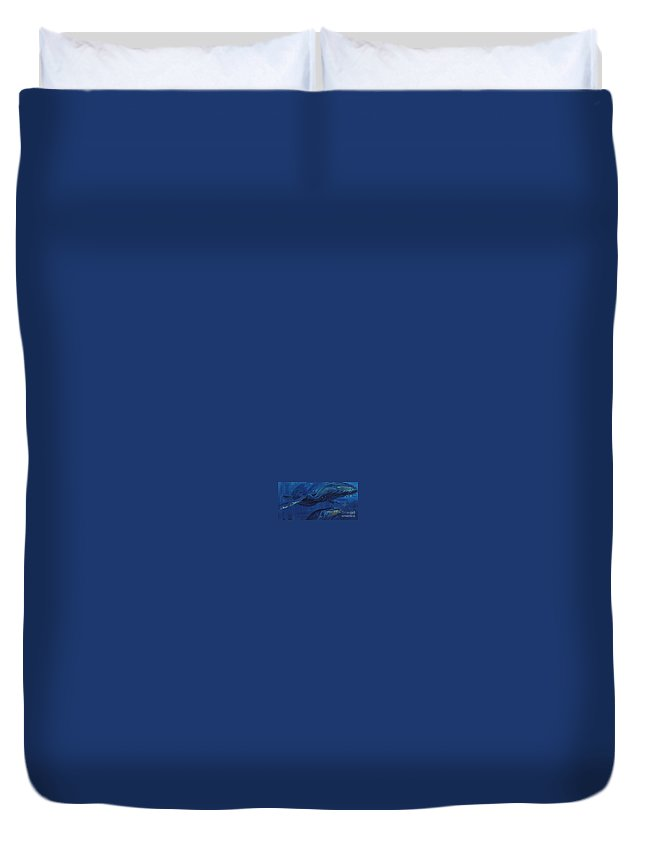 Whales Duvet Cover featuring the painting A Whale Of A Tail by P Anthony Visco