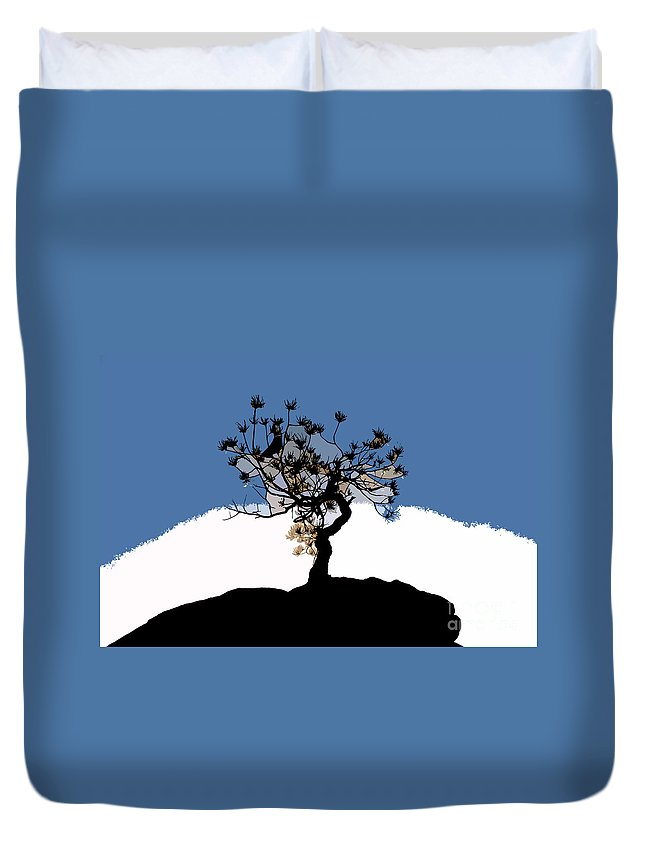 Tree Duvet Cover featuring the painting A Will To Live by David Lee Thompson
