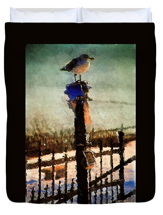 Winter Duvet Cover featuring the photograph A Winter Sea Gull Portland Maine by Gary Nelson