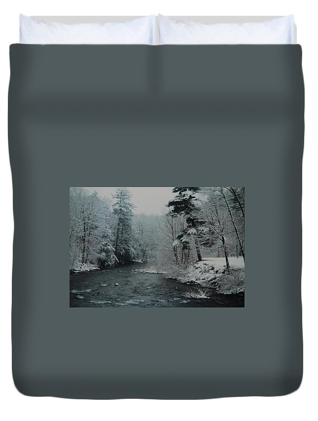 B&w Duvet Cover featuring the photograph A Winter Waterland by Rob Hans