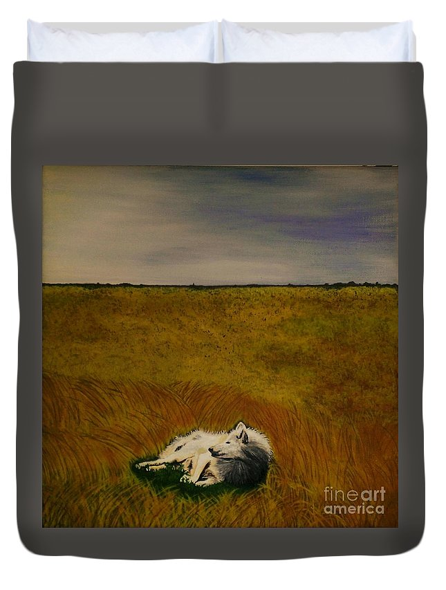 Wolf Resting In A Field Duvet Cover featuring the painting A Wolf Story by Olga Zavgorodnya