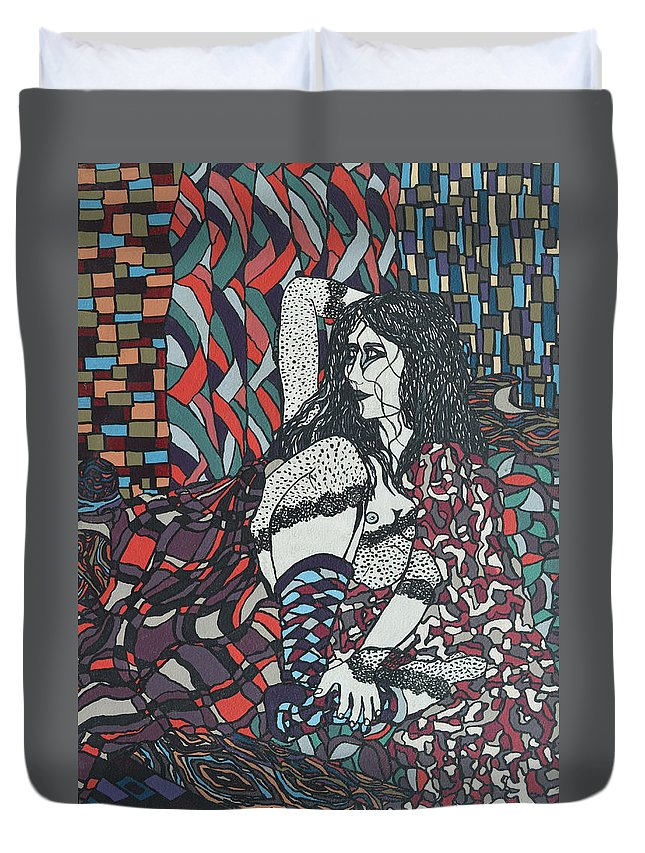 Woman Duvet Cover featuring the painting A Woman Between Prints by Muniz Filho