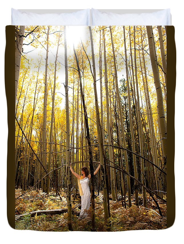 Aspen Duvet Cover featuring the photograph A Woman In The Aspen by Scott Sawyer