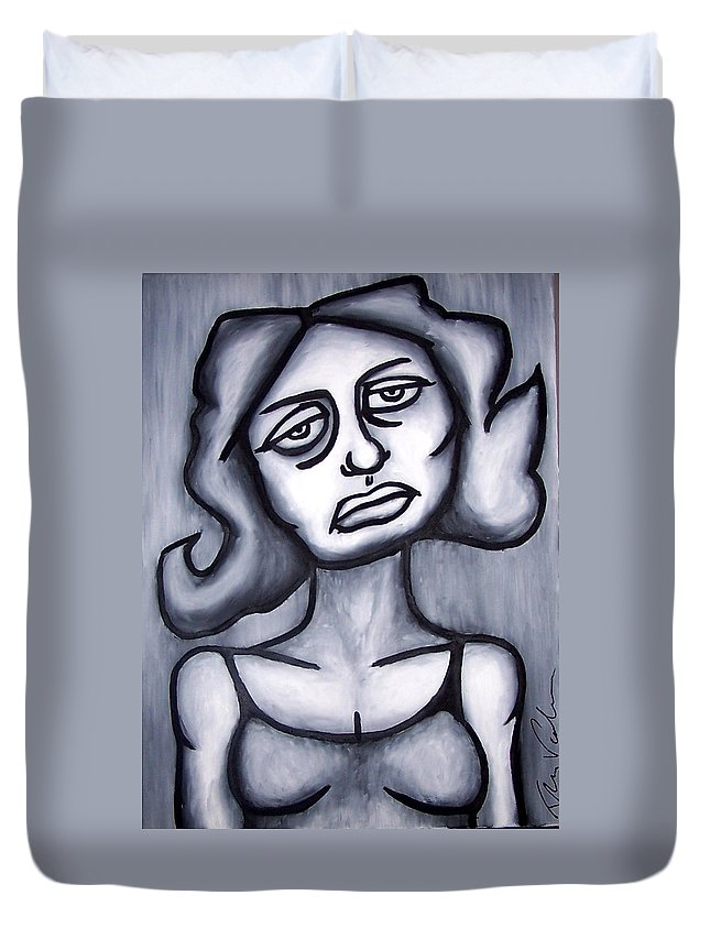 Portait Duvet Cover featuring the painting A Woman by Thomas Valentine