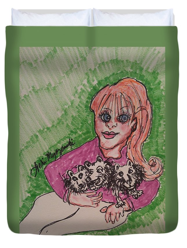 Woman Duvet Cover featuring the painting A Women And Her Puppies by Geraldine Myszenski