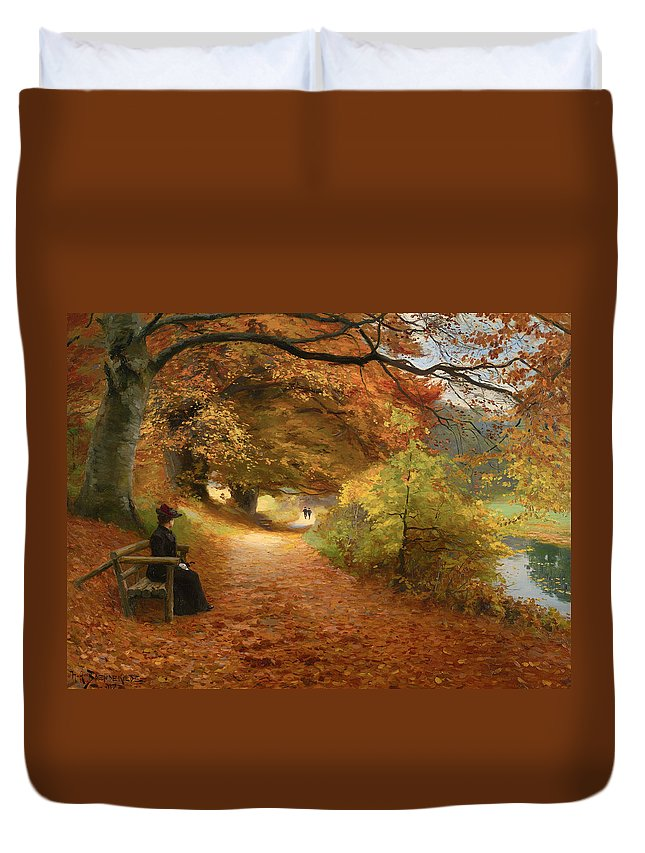 Painting Duvet Cover featuring the painting A Wooded Path In Autumn by Mountain Dreams