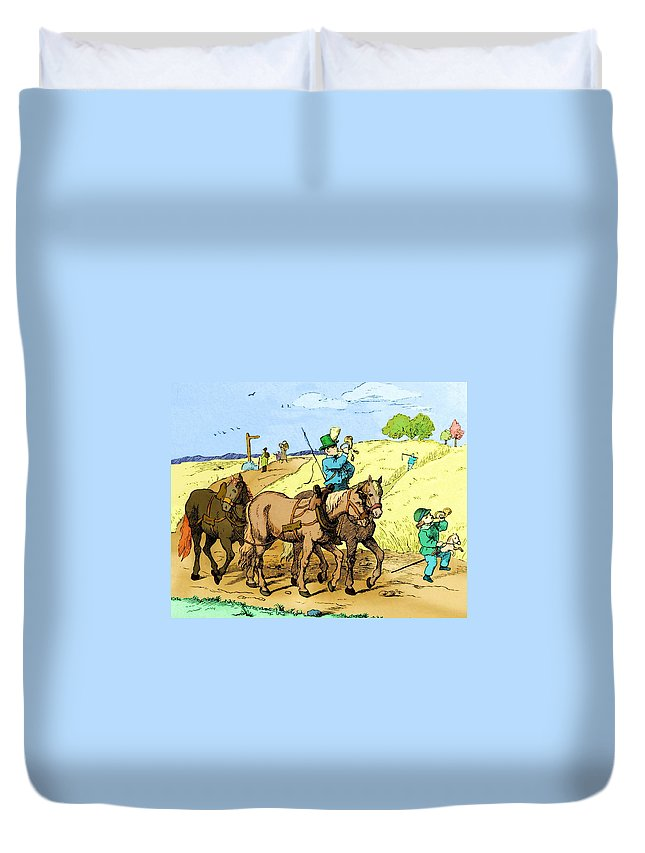 Adrian Ludwig Richter Duvet Cover featuring the digital art Like Father Like Son by Ludwig Richter and Martin Brockhaus
