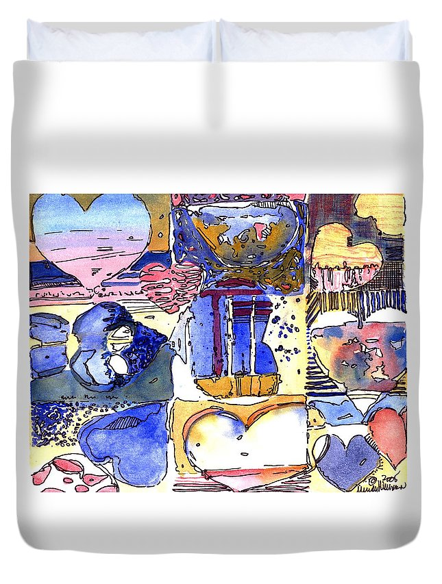 Valentine Duvet Cover featuring the painting A Zanny Valentine by Mindy Newman