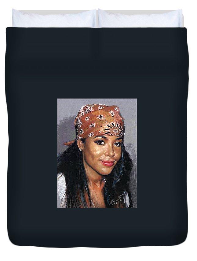 Aaliyah Dana Haughton Duvet Cover featuring the pastel Aaliyah Dana Haughton by Ylli Haruni