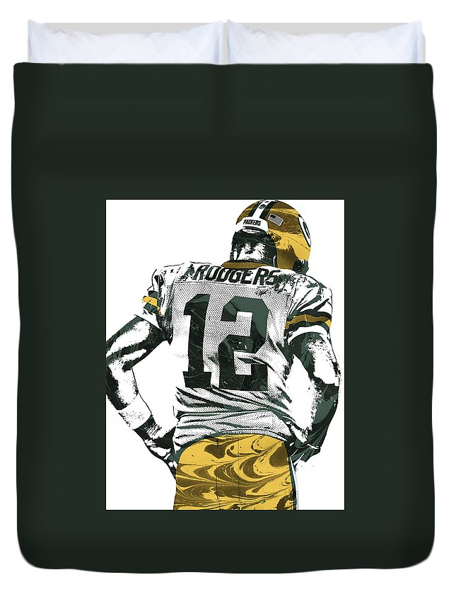 Aaron Rodgers Duvet Cover featuring the mixed media Aaron Rodgers Green Bay Packers Pixel Art 6 by Joe Hamilton