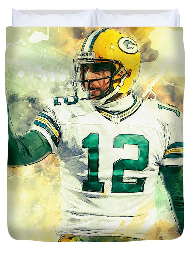 Aaron Rodgers Duvet Cover featuring the painting Aaron Rodgers by Zapista