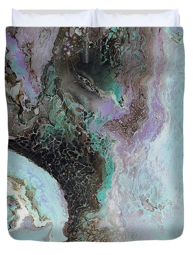 Violet Duvet Cover featuring the painting Abalone by Tamara Nelson