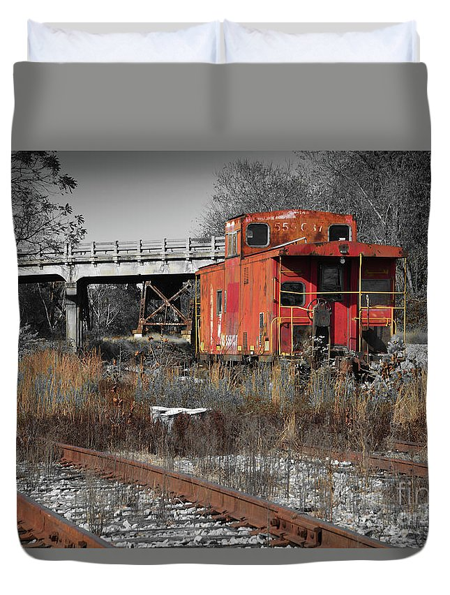 Train Duvet Cover featuring the photograph Abandon Caboose by Aaron Shortt