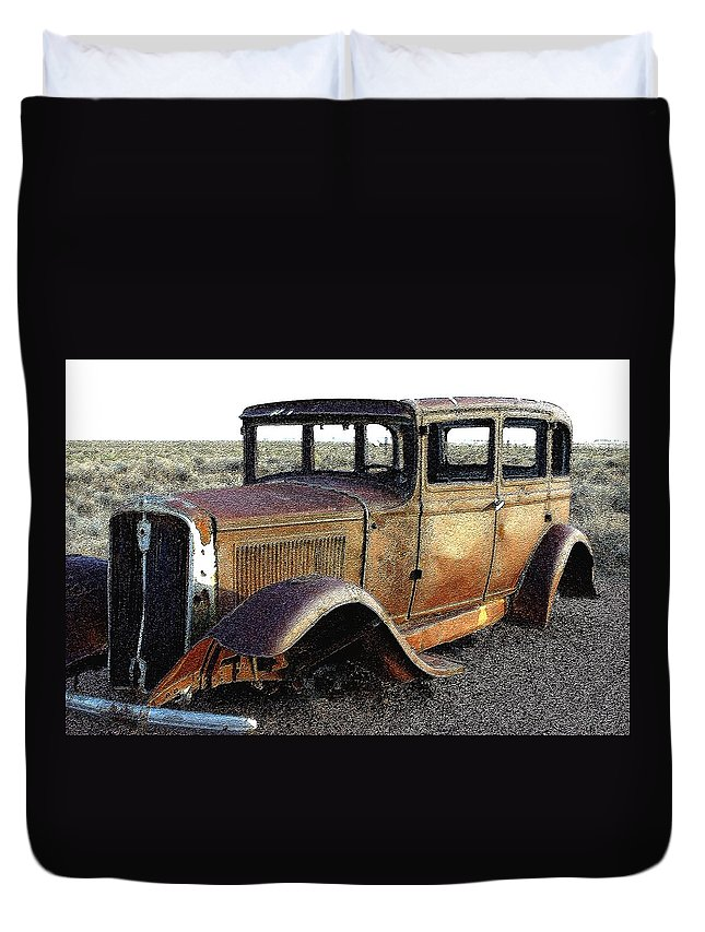 Arizona Duvet Cover featuring the photograph Abandonded Along Rt 66 by Nelson Strong