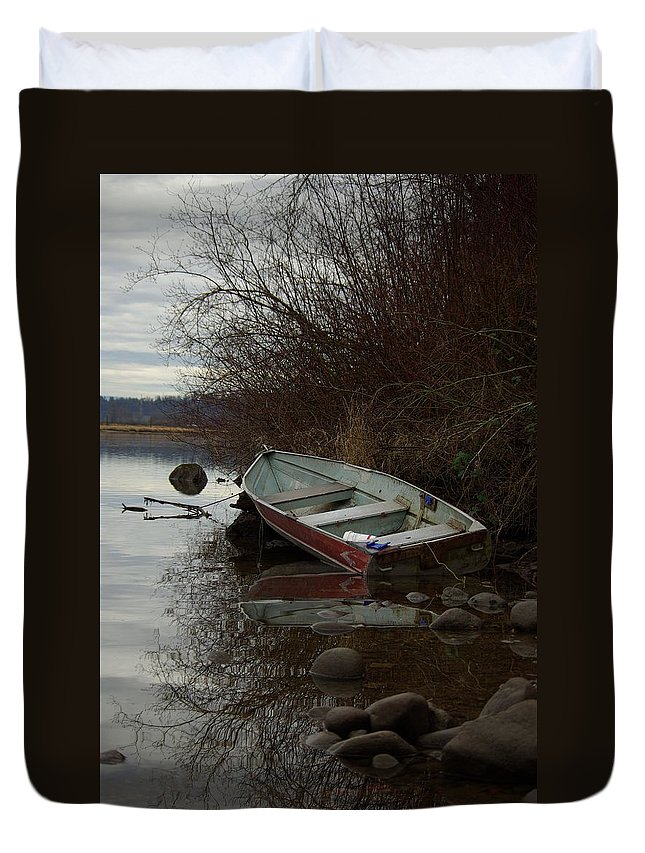 Abandoned Duvet Cover featuring the photograph Abandoned Boat by Cindy Johnston