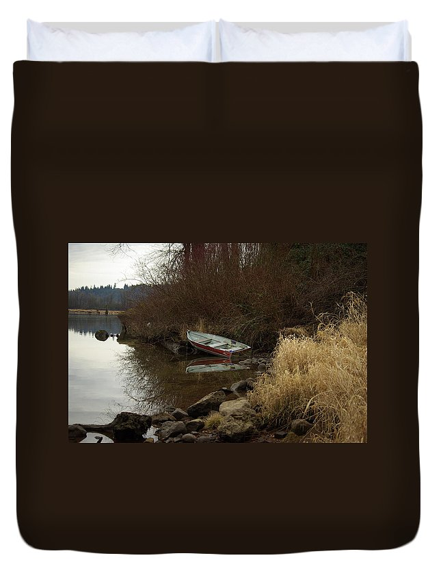 Abandoned Duvet Cover featuring the photograph Abandoned Boat II by Cindy Johnston