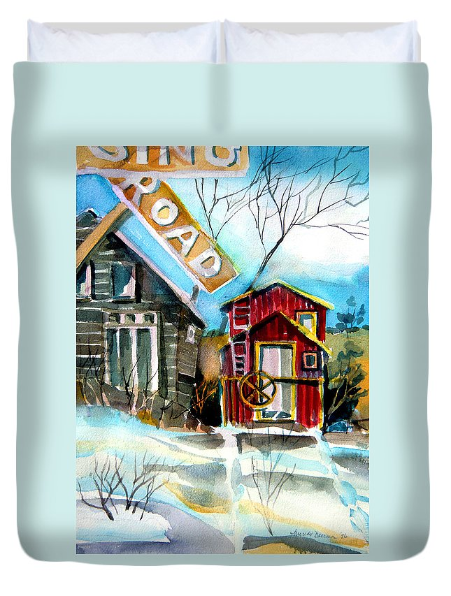 Caboose Duvet Cover featuring the painting Abandoned Caboose by Mindy Newman