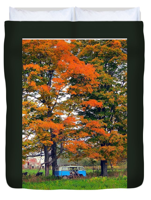 Abandoned Duvet Cover featuring the photograph Abandoned Hippie Van by Kenneth Summers