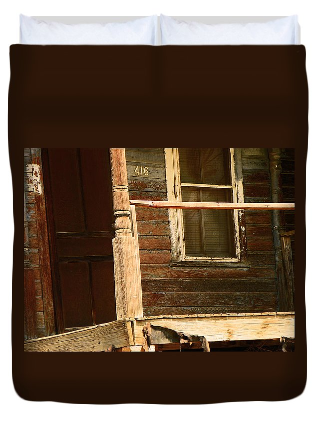 Abstract Duvet Cover featuring the photograph Abandoned House - Abandoned Porch by Lenore Senior