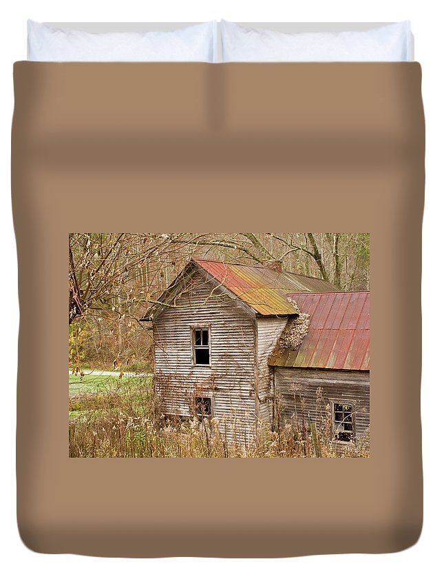 Abandoned Duvet Cover featuring the photograph Abandoned House With Colorful Roof by Douglas Barnett