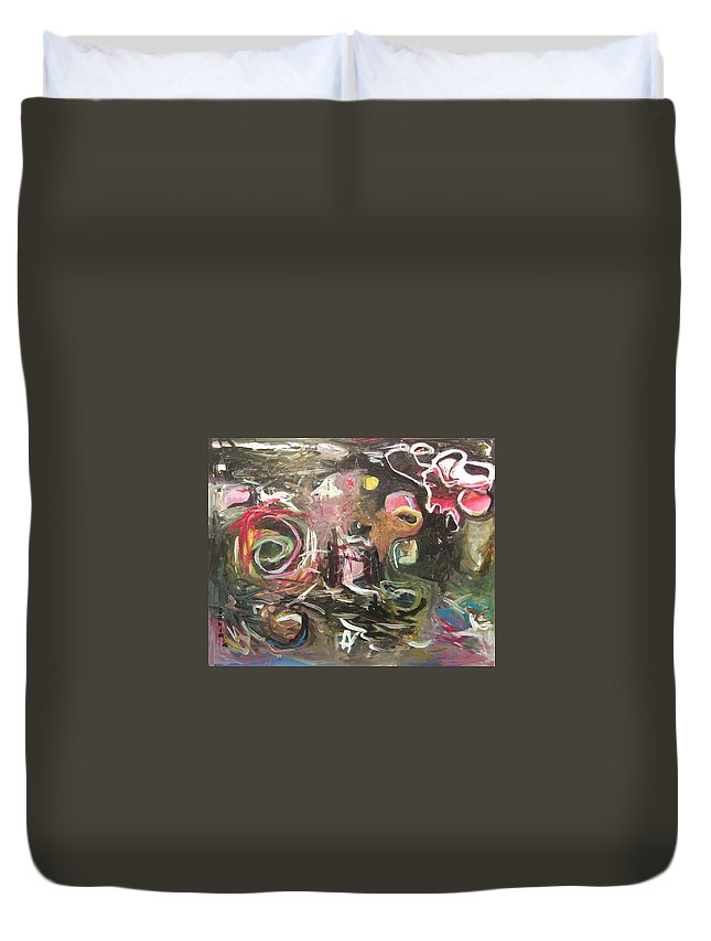 Abstract Paintings Duvet Cover featuring the painting Abandoned Idea2 by Seon-Jeong Kim