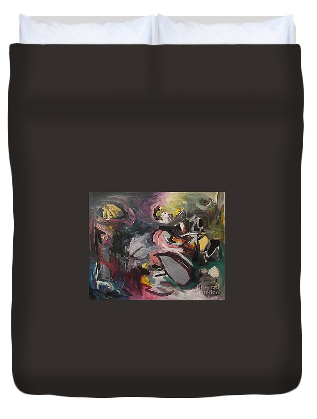 Abstract Paintings Duvet Cover featuring the painting Abandoned Ideas4 by Seon-Jeong Kim