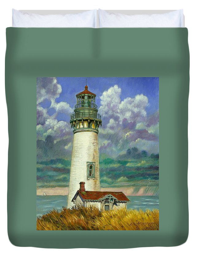Lighthouse Duvet Cover featuring the painting Abandoned Lighthouse by John Lautermilch