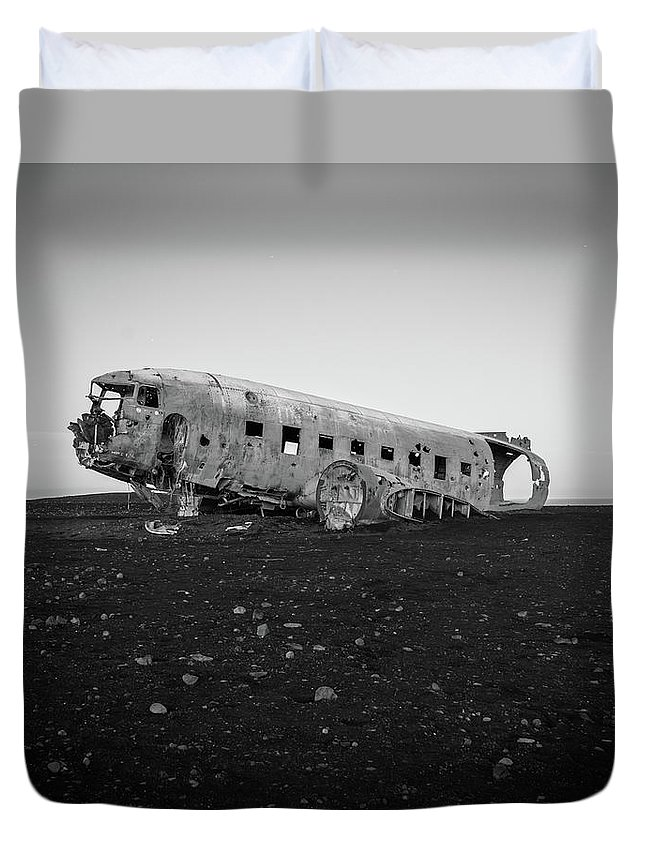 Airplane Duvet Cover featuring the photograph Abandoned Plane On Beach by James Udall